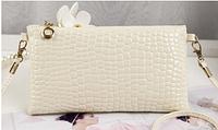 Сумка женская кожзам бежевого цвета, клатч, сумочка-клатч с плечевым ремнем 11*21см