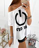 Стильная удлиненная футболка-туника с накатом.Р-р.oversize,3цвета,  р.42-44,46-48, код 4033Ж, фото 2