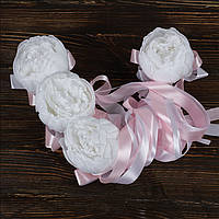 Свадебные украшения на ручки автомобиля с пионами и светло-розовыми лентами BestWed (UR-14)