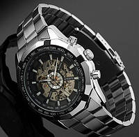 Стильные мужские наручные механические часы Winner Steel Skeleton
