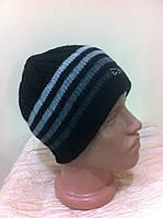 мужская чёрная шапка  двойная с серыми  полосками
