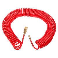 Шланг спиральный полиуретановый (PU) армированный 15м 5.5×8мм REFINE (7013431), фото 1