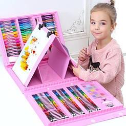 Большой детский набор для рисования с мольбертом в чемодане 208 предметов