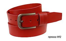 Ремень кожаный джинсовый SULLIVAN  RMK-131(7) 115-150 см красный