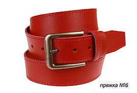 Ремень кожаный джинсовый одна строчка SULLIVAN  RMK-141(7.5) 115-150 см красный