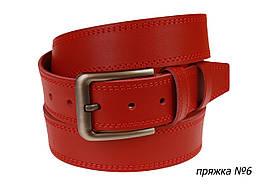 Ремень кожаный джинсовый двойная строчка SULLIVAN  RMK-151(8) 115-150 см красный
