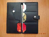 Кожаный женский кошелек черный, фото 1