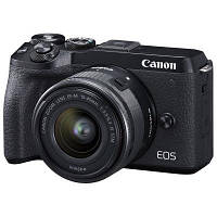 Цифровой фотоаппарат Canon EOS M6 Mark II + 15-45 IS STM + EVF Kit Black (3611C053)