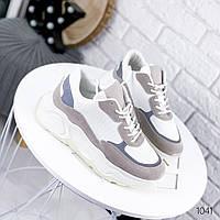 Женские кроссовки белые с серым  эко-кожа+текстиль
