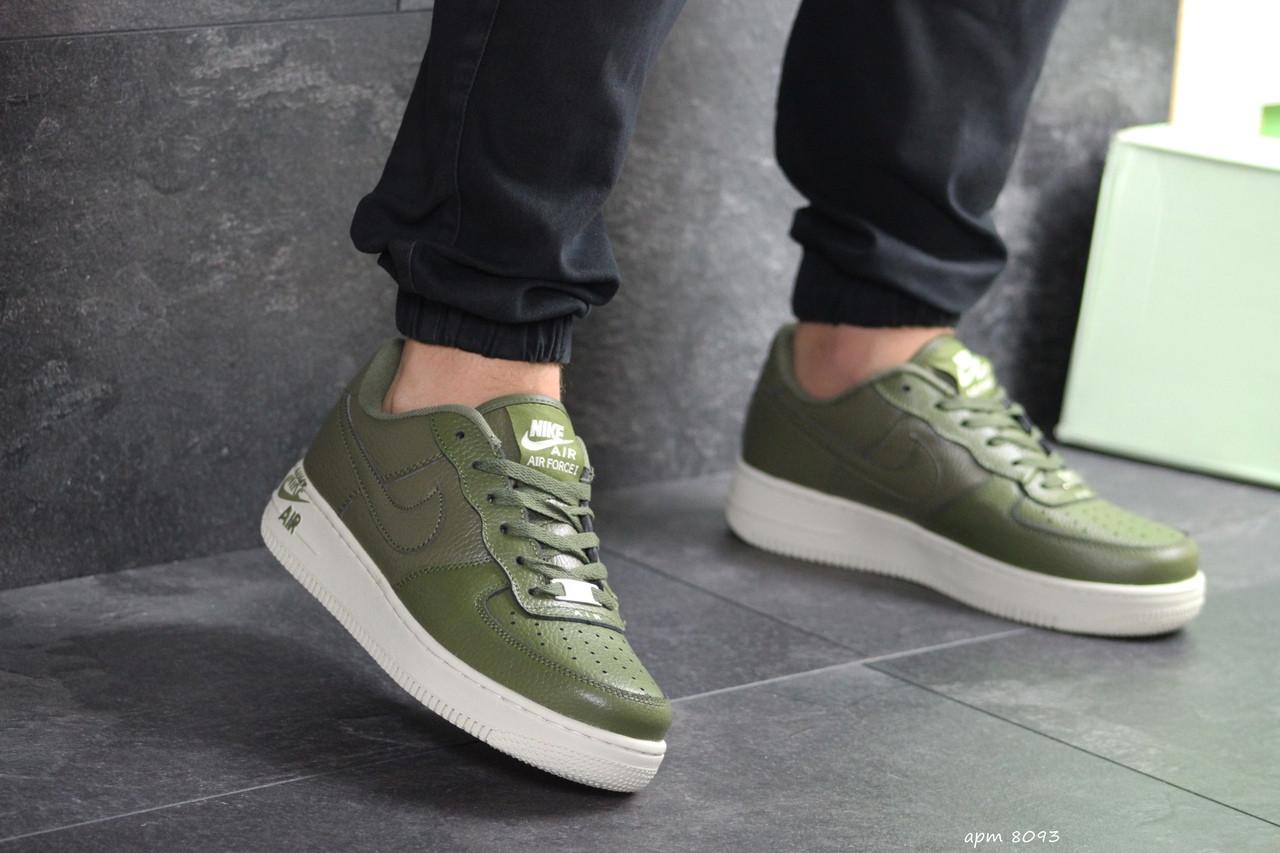Мужские кроссовки Nike Air Force 1 темно зеленые