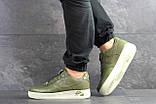 Мужские кроссовки Nike Air Force 1 темно зеленые, фото 3
