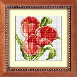 Алмазная мозаика Три тюльпана Dream Art 30007 15x15см 10 цветов, квадр.стразы, полная зашивка