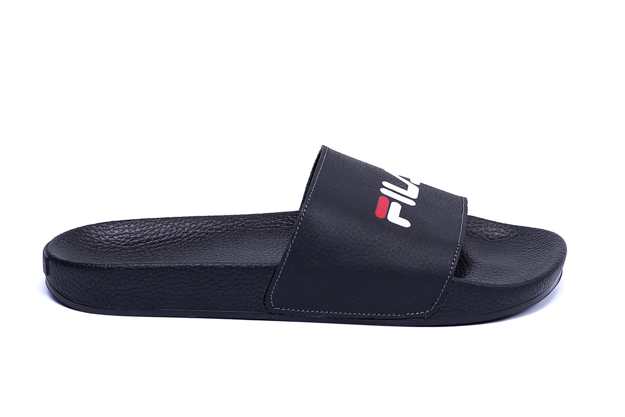 Мужские кожаные  летние шлепанцы  FILA black (реплика)