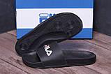 Мужские кожаные  летние шлепанцы  FILA black (реплика), фото 7