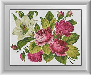 Алмазная мозаика Розы и лилия Dream Art 30485 35x45смсм 24 цветов, квадр.стразы, полная зашивка