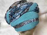Летняя бандана-шапка-косынка-тюрбан-чалма хлопковая с объёмной драпировкой, фото 3