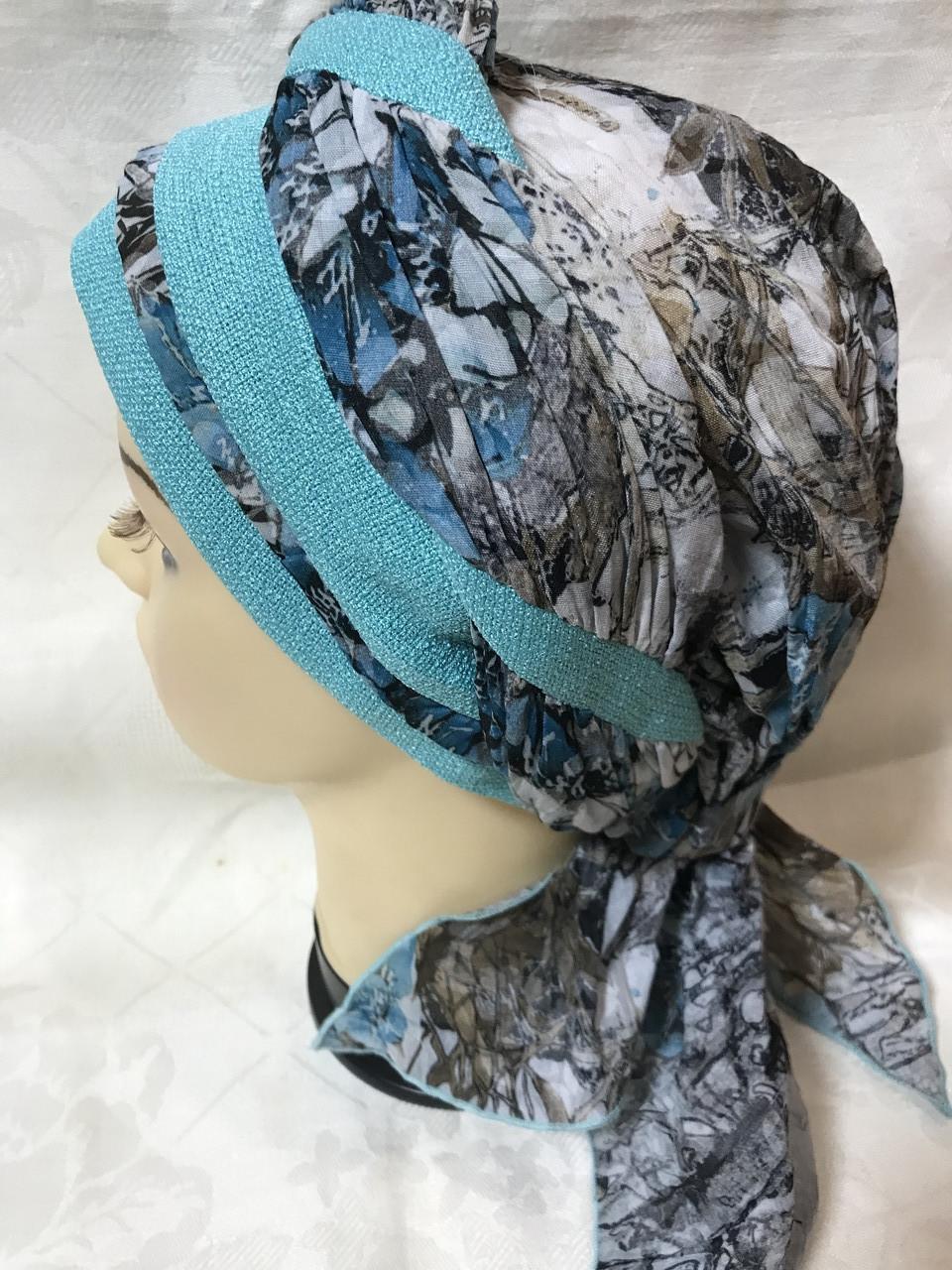 Летняя бандана-шапка-косынка-тюрбан-чалма хлопковая с объёмной драпировкой