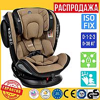 Детское Поворотное Автокресло c ISOFIX 0-36 кг El Camino Evolution 360 Бежевое (ME 1045)