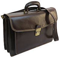 Портфель мужской из натуральной кожи TOMSKOR, Польша 81570 коричневый, фото 1