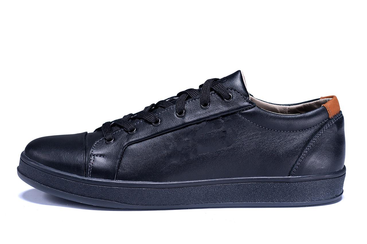 Мужские кожаные кеды  Е-series Soft Men Black Leather (реплика)