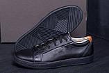 Мужские кожаные кеды  Е-series Soft Men Black Leather (реплика), фото 9
