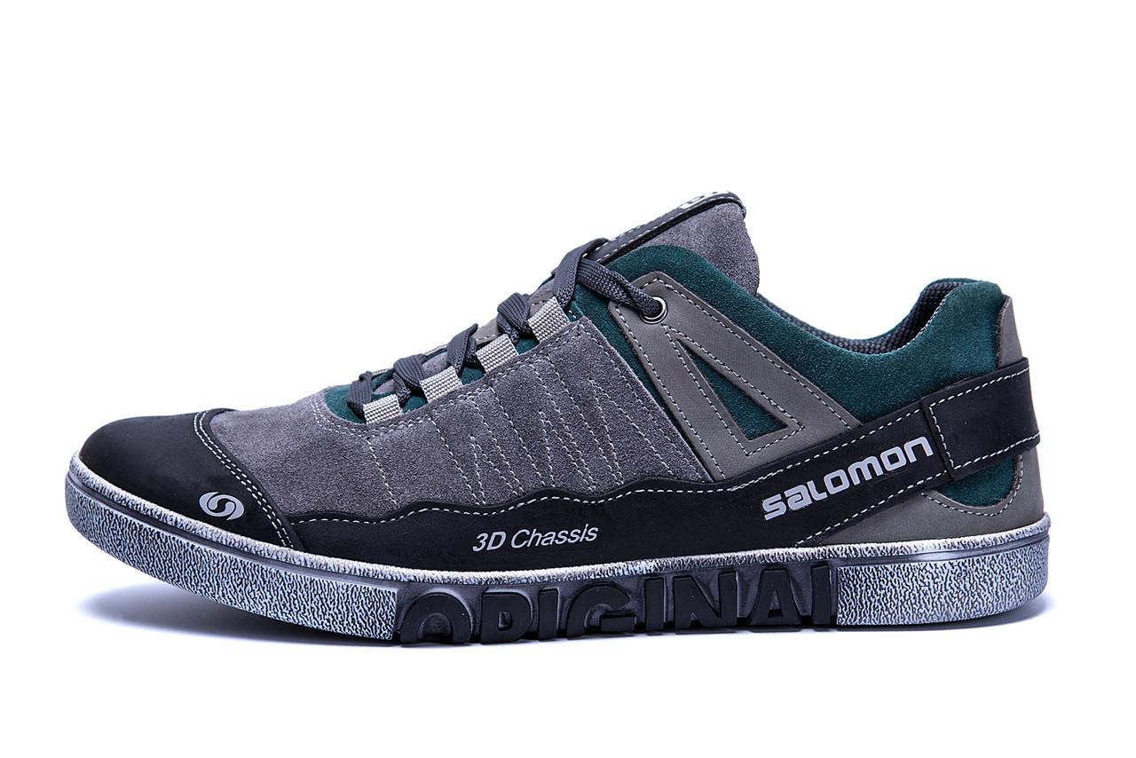 Мужские кожаные кроссовки Salomon Grey and Green Trend (реплика)