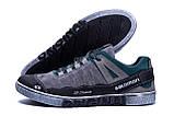 Мужские кожаные кроссовки Salomon Grey and Green Trend (реплика), фото 5