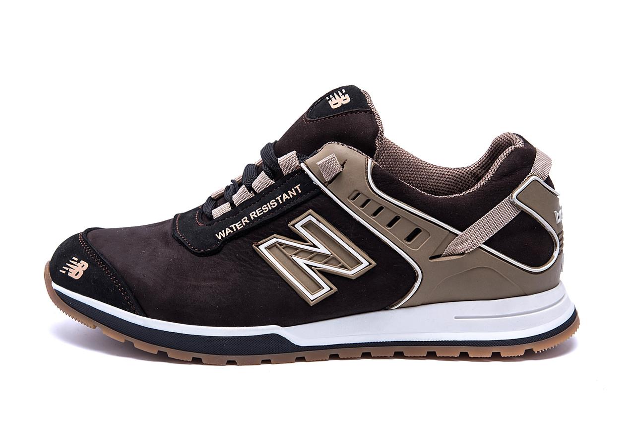 Мужские кожаные кроссовки NB Clasic Brown (реплика)
