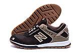 Мужские кожаные кроссовки NB Clasic Brown (реплика), фото 5