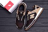 Мужские кожаные кроссовки NB Clasic Brown (реплика), фото 8