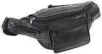 Поясная сумка, бананка кожаная Cavaldi SS110 черная, фото 1