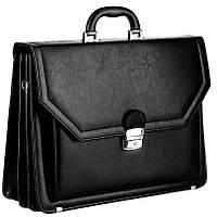 Большой мужской портфель из эко кожи AMO SST01 чёрный, фото 1