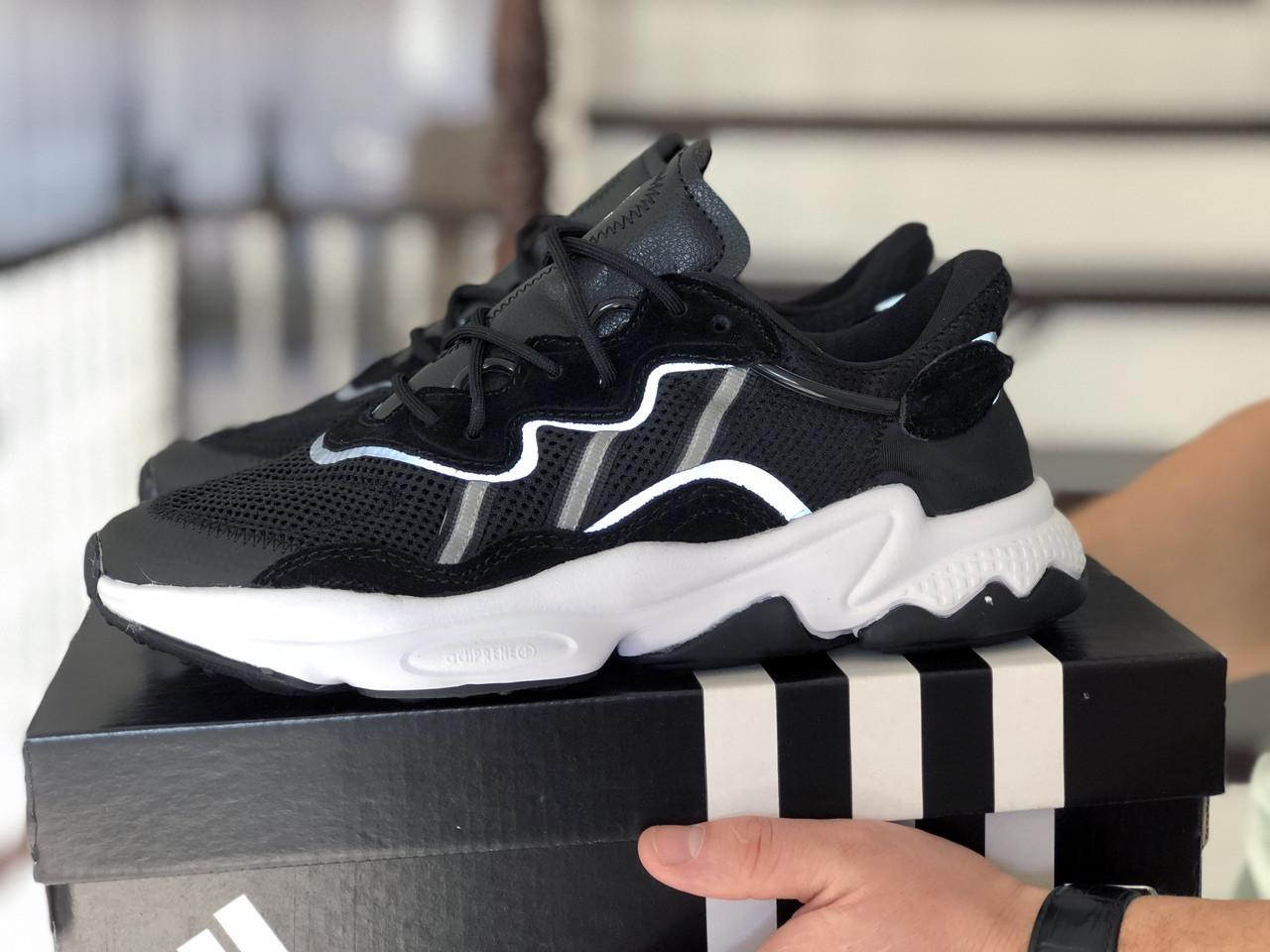 Мужские кроссовки Adidas Ozweego TR черно белые