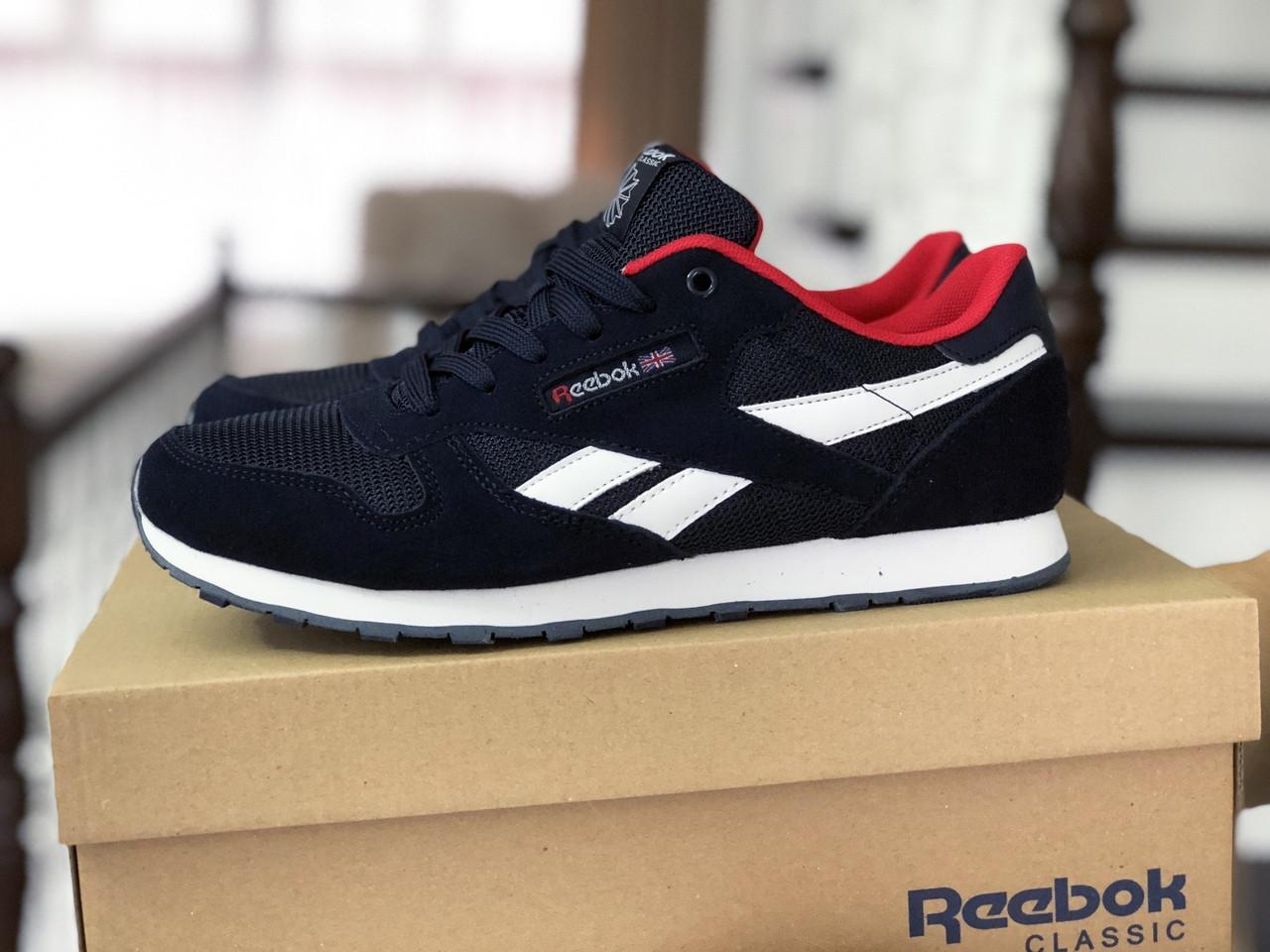 Мужские кроссовки Reebok Classic темно синие с белым \ красные
