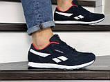 Мужские кроссовки Reebok Classic темно синие с белым \ красные, фото 2