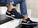 Мужские кроссовки Reebok Classic темно синие с белым \ красные, фото 3