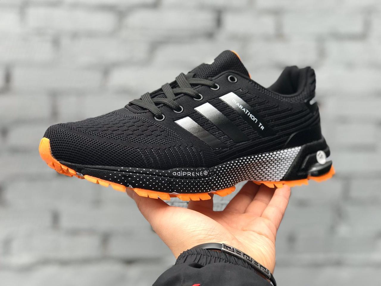 Мужские кроссовки Adidas Marathon TR черные с оранжевым
