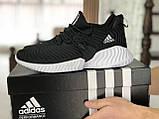 Мужские кроссовки Adidas черные с белым, фото 2