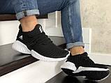 Мужские кроссовки Adidas черные с белым, фото 5