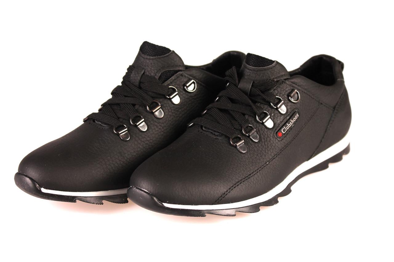 Мужские  кроссовки  Clubshoes  кожаные   черные размеры 40, 41, 42  43. 44. 45