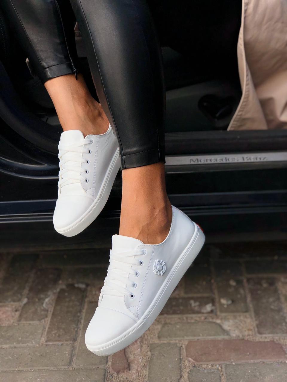 Женские стильные кожаные кеды Armando model- A3, белые
