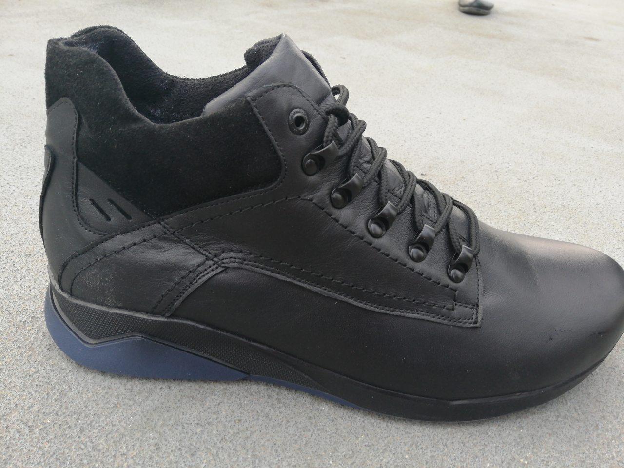 Мужские кожаные зимние ботинки черные Большого размера Big Boss 46 47 48 49 50