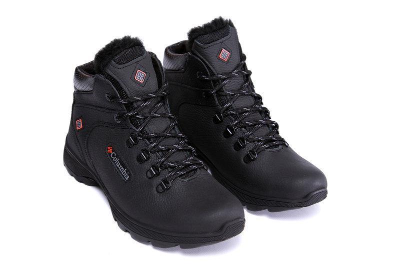 Зимние мужские ботинки черные из натуральной кожи на меху в стиле Коламбия Track Control