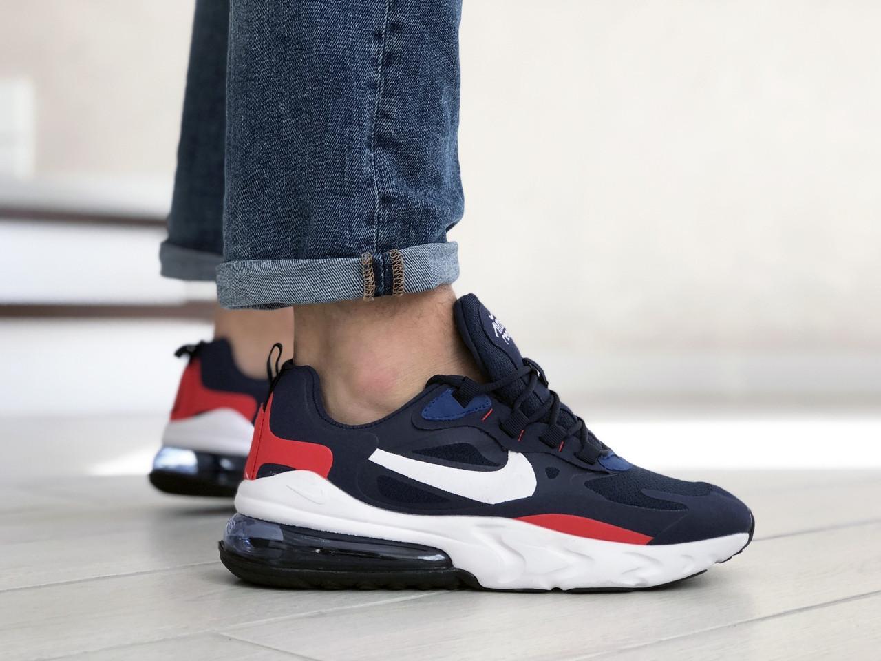 Мужские кроссовки Nike Air Max 270 React синие с белым \ красные