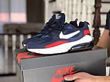 Мужские кроссовки Nike Air Max 270 React синие с белым \ красные, фото 2