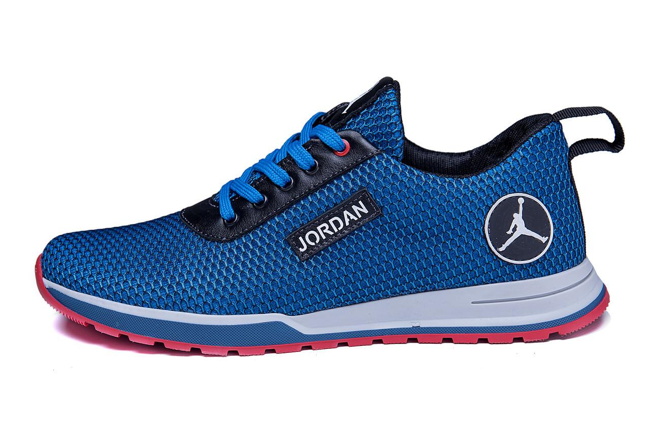 Мужские летние кроссовки сетка Jordan blue (реплика)