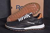 Мужские кожаные летние кроссовки, перфорация Reebok Classic black (реплика), фото 8