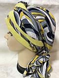 Летняя бандана-шапка-косынка-тюрбан  с объёмной драпировкой сине-жёлтого цвета, фото 3