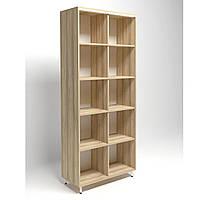 Шкаф книжный открытый Delta DL-901 (864х420х2078мм) Блэквуд Ячменный/Опора белый беж