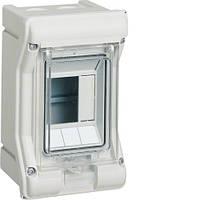 Распределительный щит Vector Hager внешней установки на 3 модуля IP65 с прозрачной дверцей